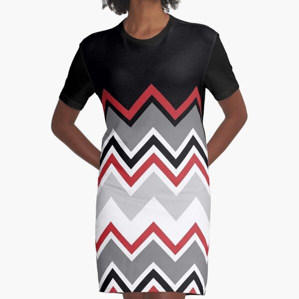 Chevron Red Grey Black White Zigzag Pattern Graphic T-Shirt Dress