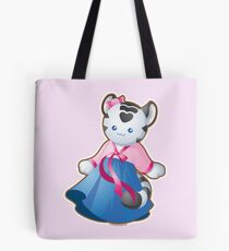 Kawaii White Tiger in Hanbok Tote Bag