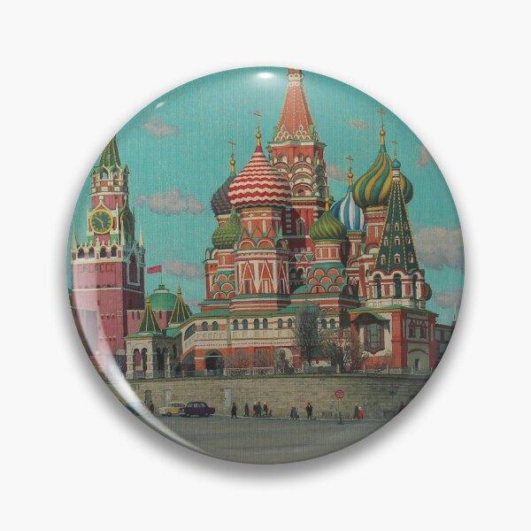 Great Vintage 1986 Moscow Kremlin Oil Genre Scene Socialist Realism USSR Pin