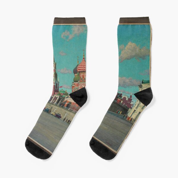 Great Vintage 1986 Moscow Kremlin Oil Genre Scene Socialist Realism USSR Socks