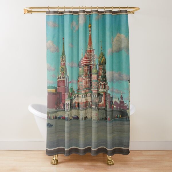 Great Vintage 1986 Moscow Kremlin Oil Genre Scene Socialist Realism USSR Shower Curtain