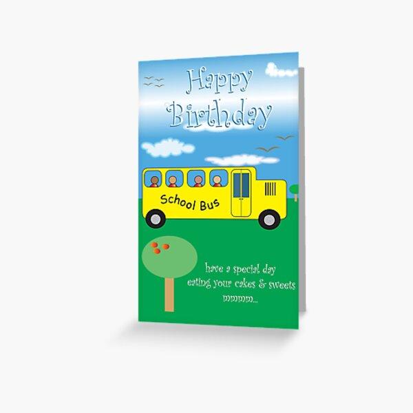 Yellow School Bus Birthday Card (bk0010) Greeting Card