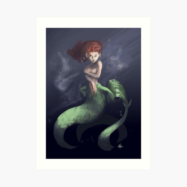 Sirena verde en medio del mar Lámina artística