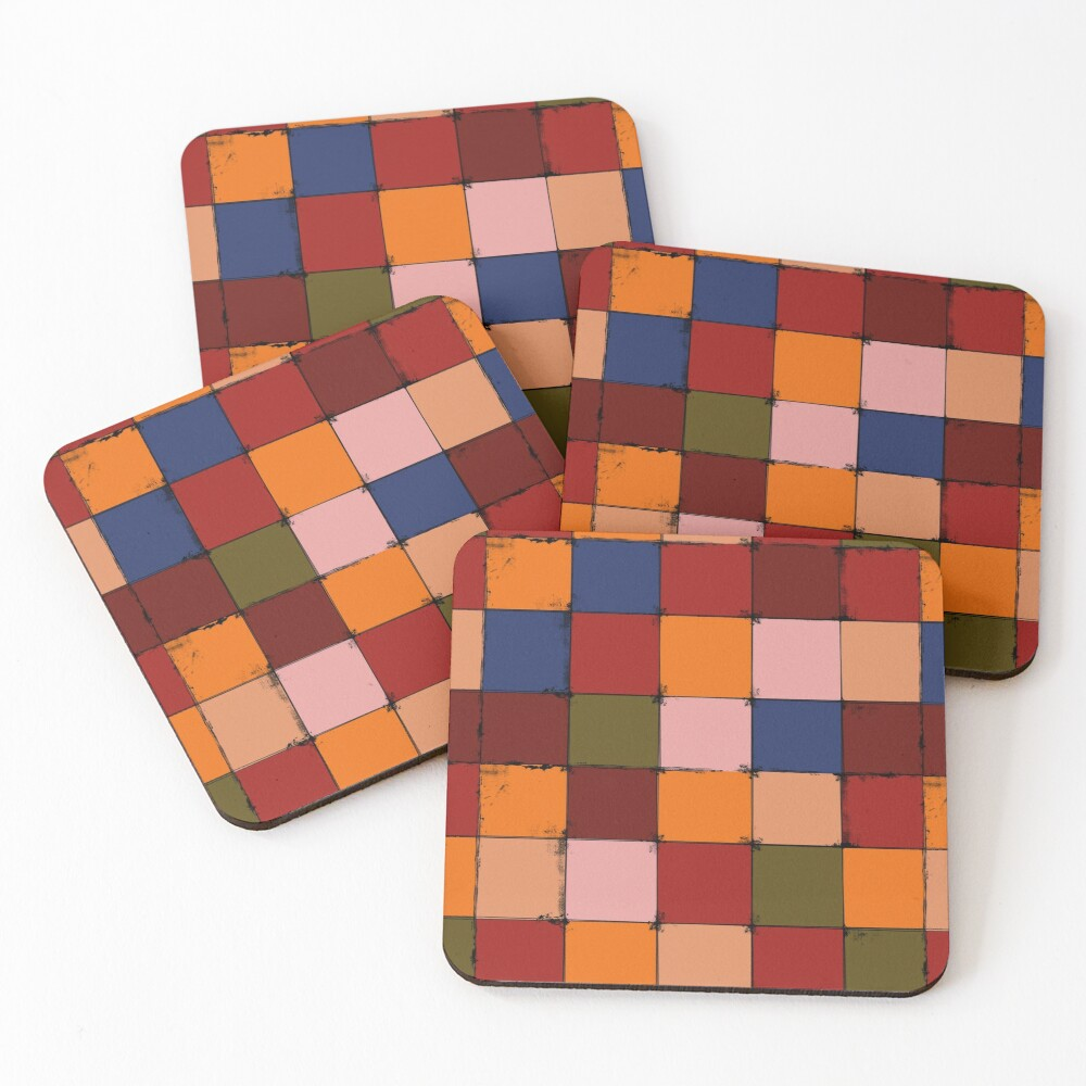 Winter Checkboard Coasters (Set of 4)
