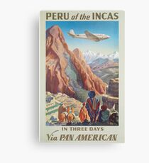 Peru of the Incas In Three Days Via Pan American Vintage Travel Poster Canvas Print