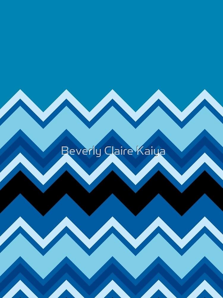 Chevron Summer Cobalt Sapphire Blue Black Zigzag Pattern by beverlyclaire