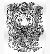 Tiger Tangle in Black and White Poster