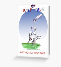 Keep Calm and protect your bails - tony fernandes Greeting Card