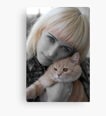 Girl&Cat Canvas Print