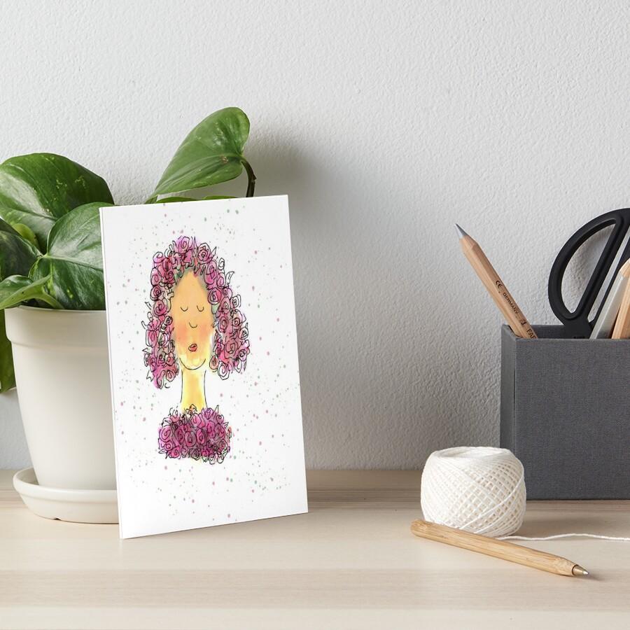 Rose Girl Watercolour Sketch Art Board Print