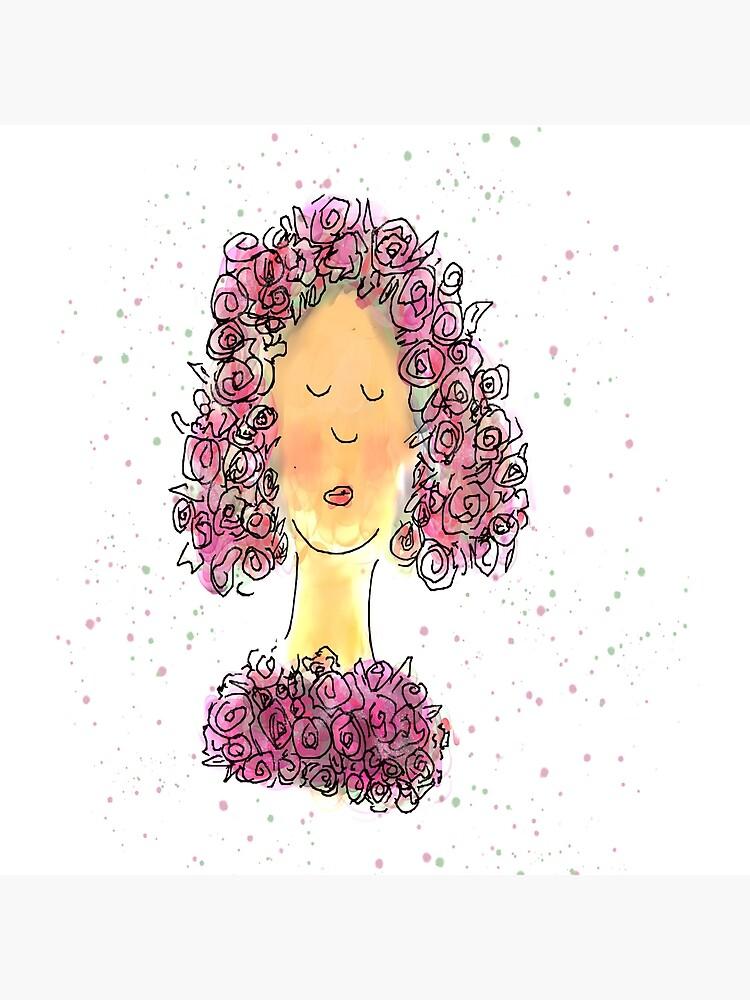 Rose Girl Watercolour Sketch by ClareWalkerArt