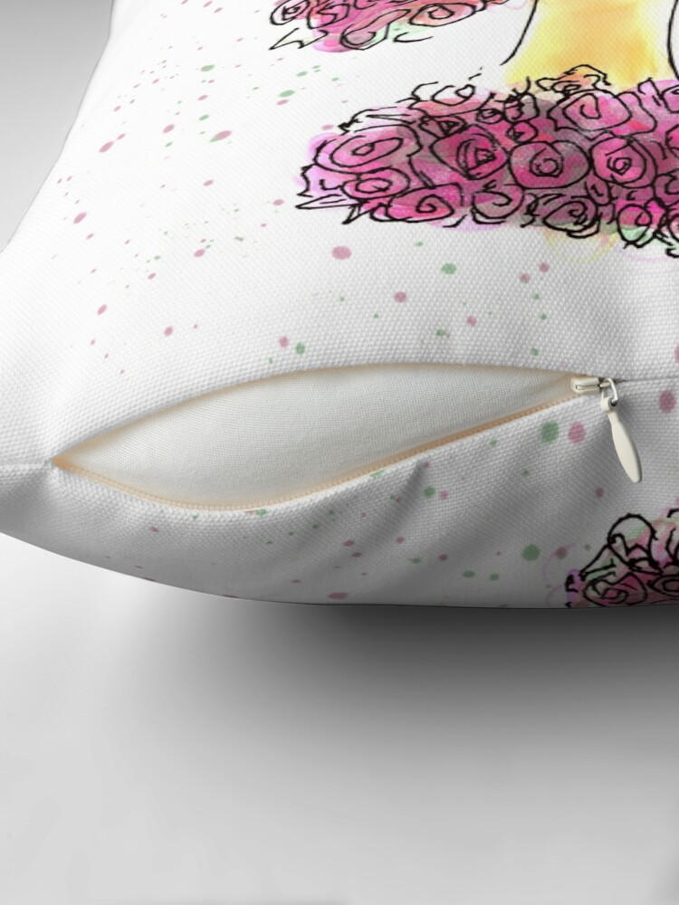 Alternate view of Rose Girl Watercolour Sketch Throw Pillow