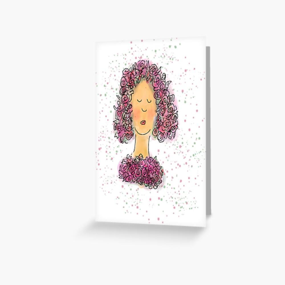 Rose Girl Watercolour Sketch Greeting Card