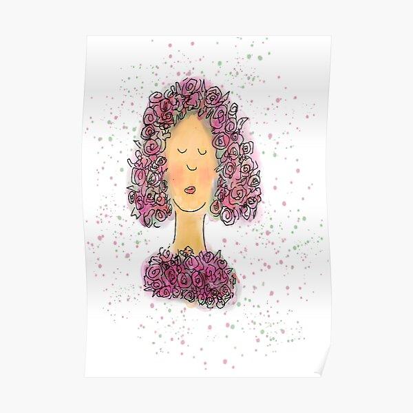 Rose Girl Watercolour Sketch Poster