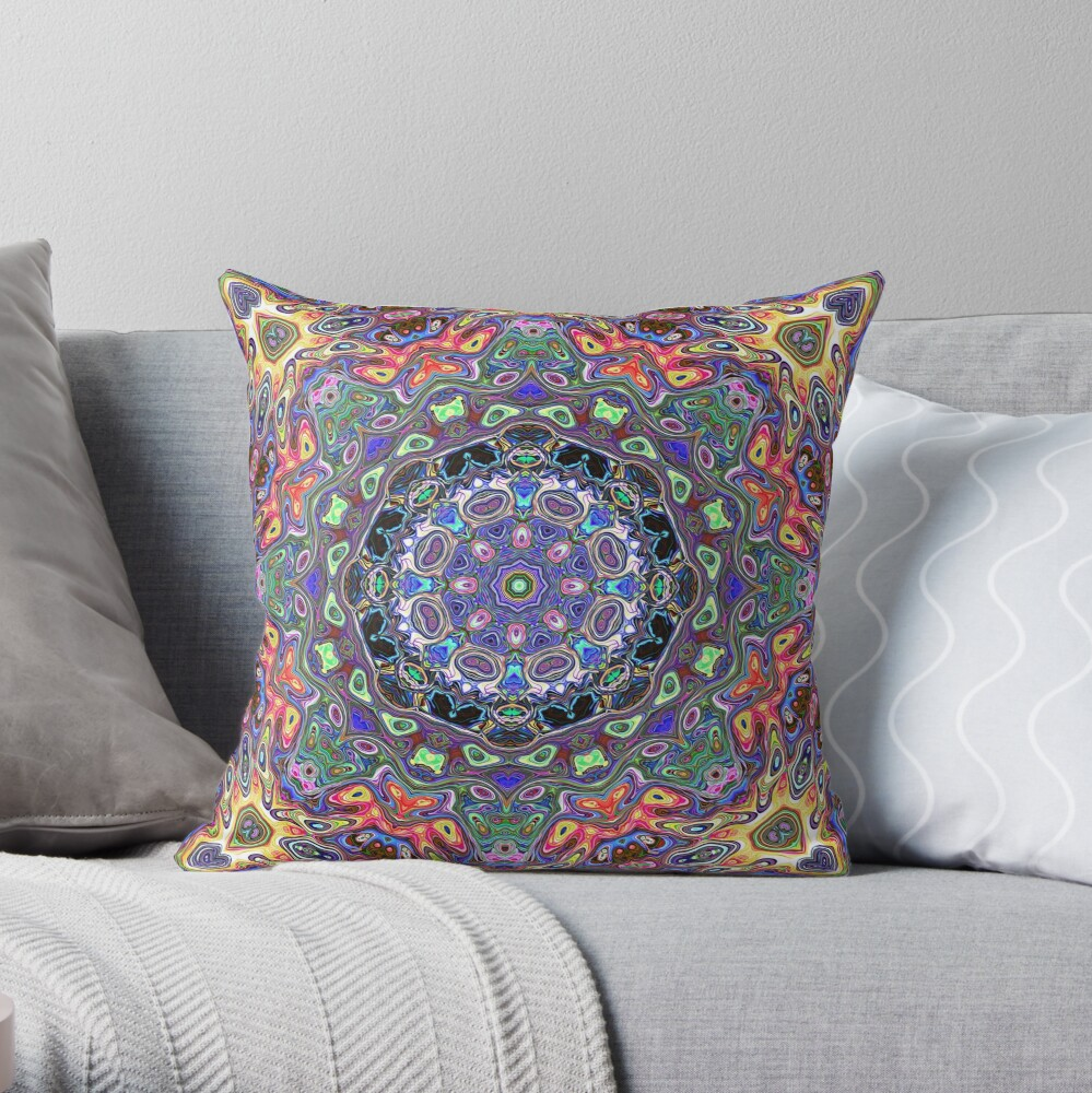 Colorful Mandala Abstract Throw Pillow