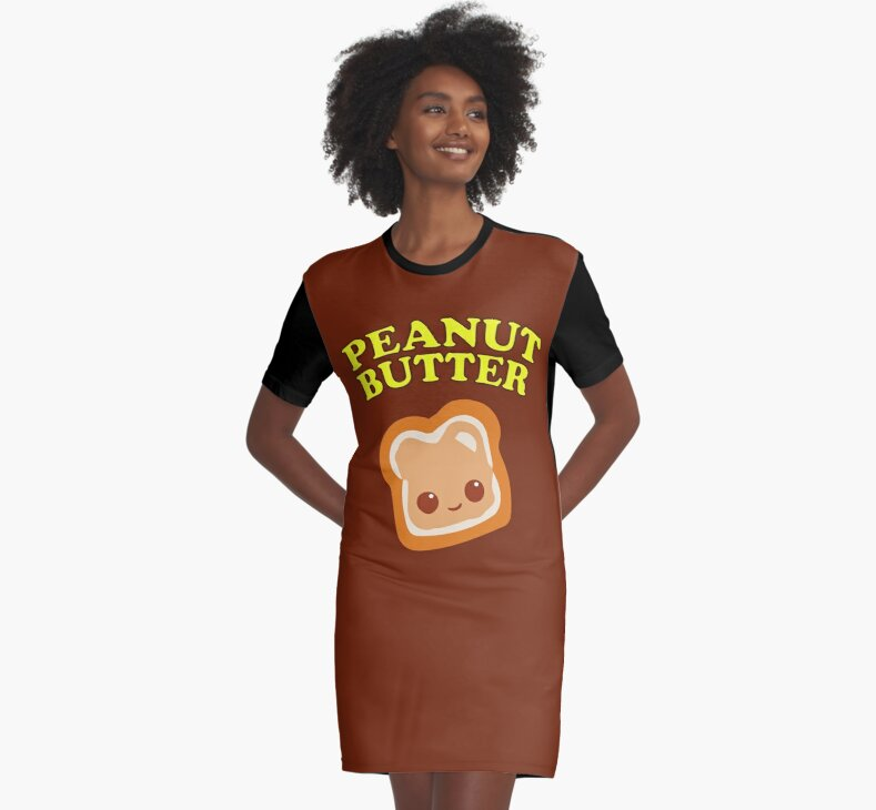 couple peanut butter jelly graphic t shirt dresses