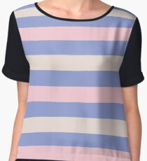 Elegant Pink and Purple fashion Stripes Navy Pastel Eco Collection Chiffon Top