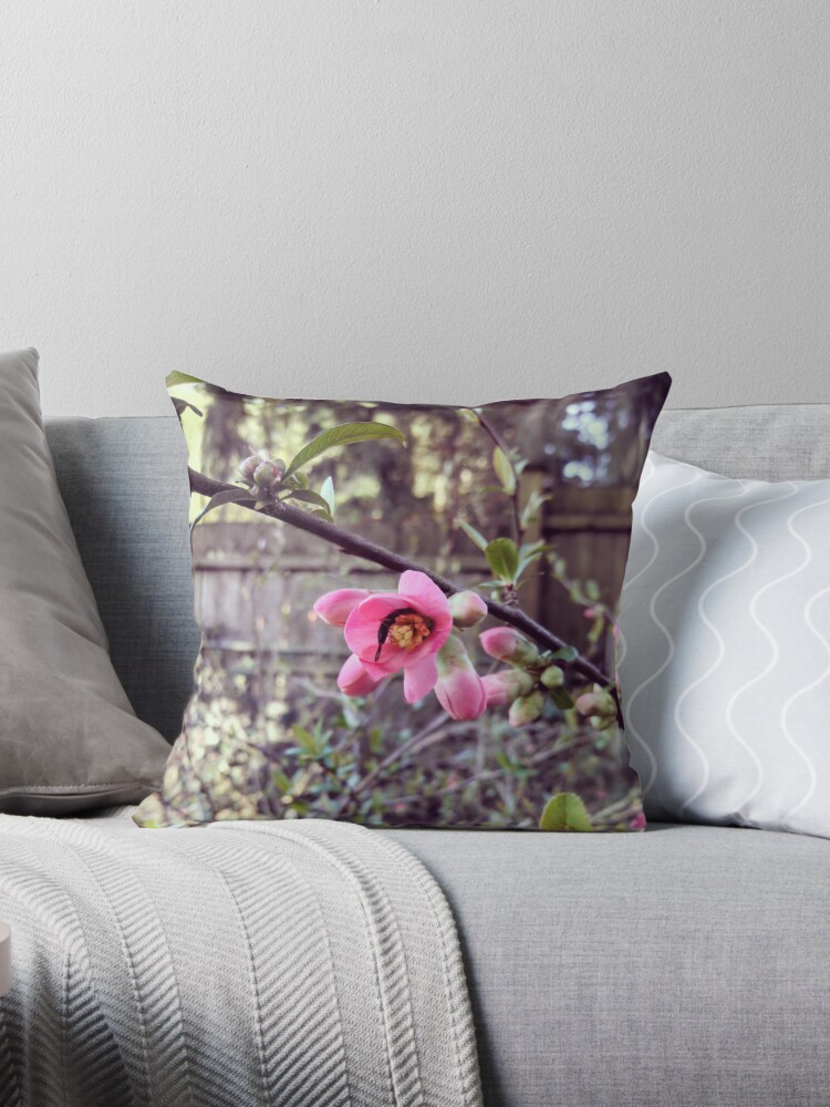 small pink flower throw pillows by teenibopper redbubble