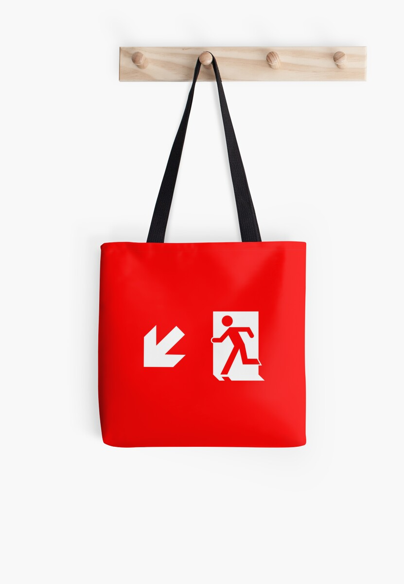 Running Man Emergency Exit Sign, Left Hand Diagonally Down Arrow by Egress Group Pty Ltd