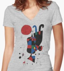 Dog in Front of The Sun Women's Fitted V-Neck T-Shirt