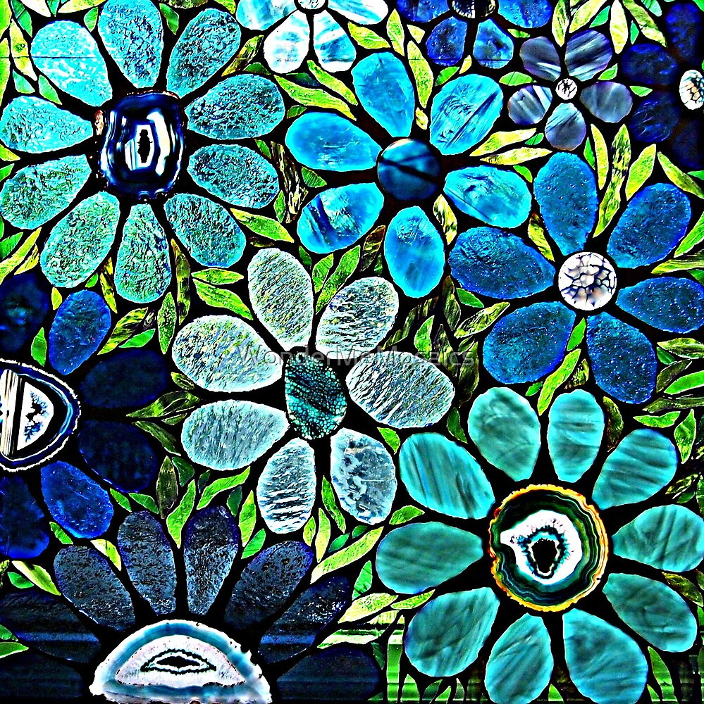 Artistic Garden of Blues & Greens by WonderMeMosaics