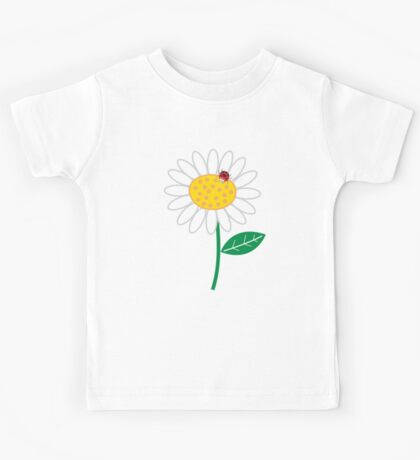 Whimsical Summer White Daisy and Red Ladybug Kids Clothes