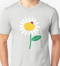 Whimsical Summer White Daisy and Red Ladybug T-Shirt