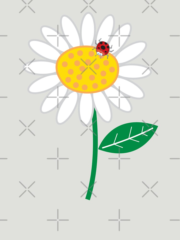 Whimsical Summer White Daisy and Red Ladybug | Women's T-Shirt