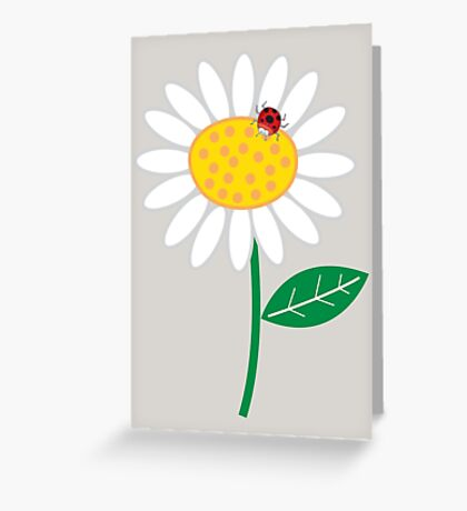 Whimsical Summer White Daisy and Red Ladybug Greeting Card