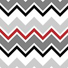 Chevron Red Grey Black Zigzag Pattern by Beverly Claire Kaiya