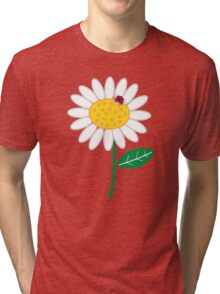 Whimsical Summer White Daisies & Red Ladybugs Tri-blend T-Shirt