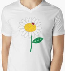 Whimsical Summer White Daisies & Red Ladybugs Mens V-Neck T-Shirt