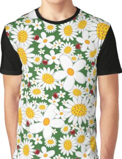 Whimsical Summer White Daisies & Red Ladybugs Graphic T-Shirt