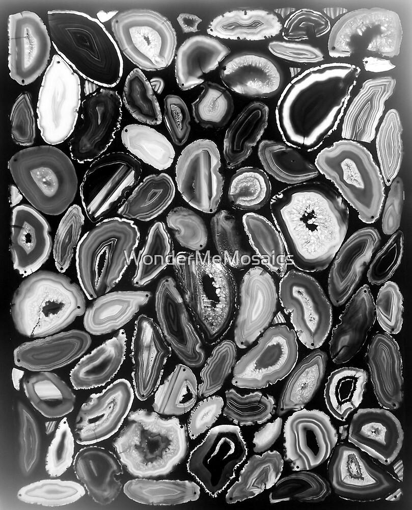 Agate Garden in Black & White, Mosaic Art by WonderMeMosaics