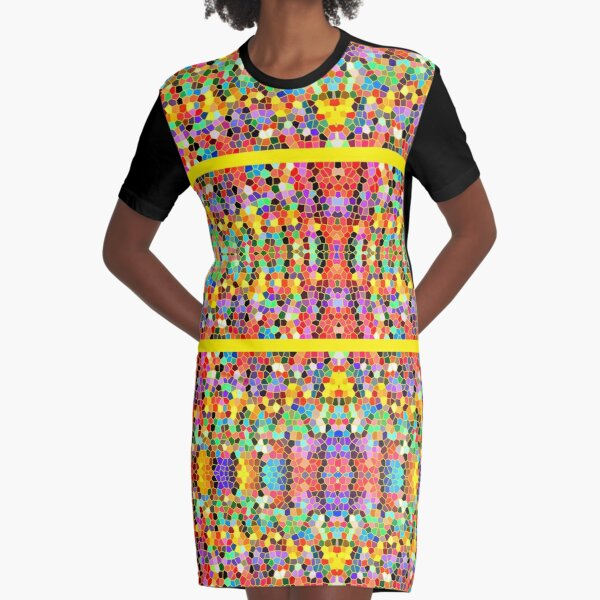 Abstract Stained Glass Colorful Rainbow Vivid Mosaic Graphic T-Shirt Dress