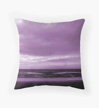 Rain Clouds At Sand Bay Throw Pillow