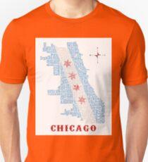 Chicago Flag Neighborhood Map Unisex T-Shirt