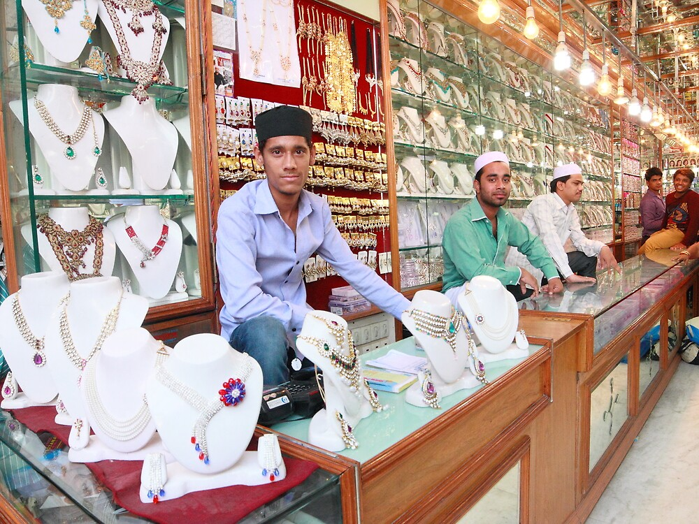 Pearl Shop Charminar Hyderabad India by Andrew  Makowiecki
