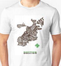 Boston Clover Neighborhoods Map T-Shirt
