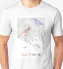 Baltimore City oriole/raven Neighborhood Map T-Shirt