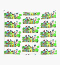 City with house and tree Wall Tapestry