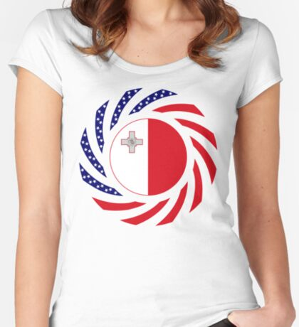 Maltese American Multinational Patriot Flag Series Fitted Scoop T-Shirt