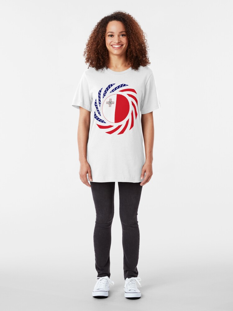 Alternate view of Maltese American Multinational Patriot Flag Series Slim Fit T-Shirt