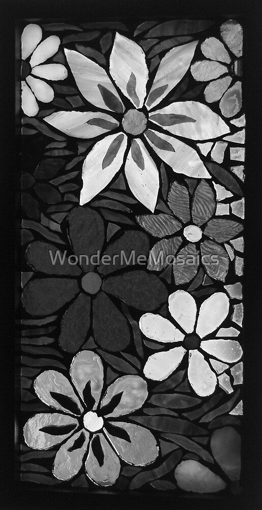 Burst of Black & White Garden of Flowers, Mosaic by WonderMeMosaics