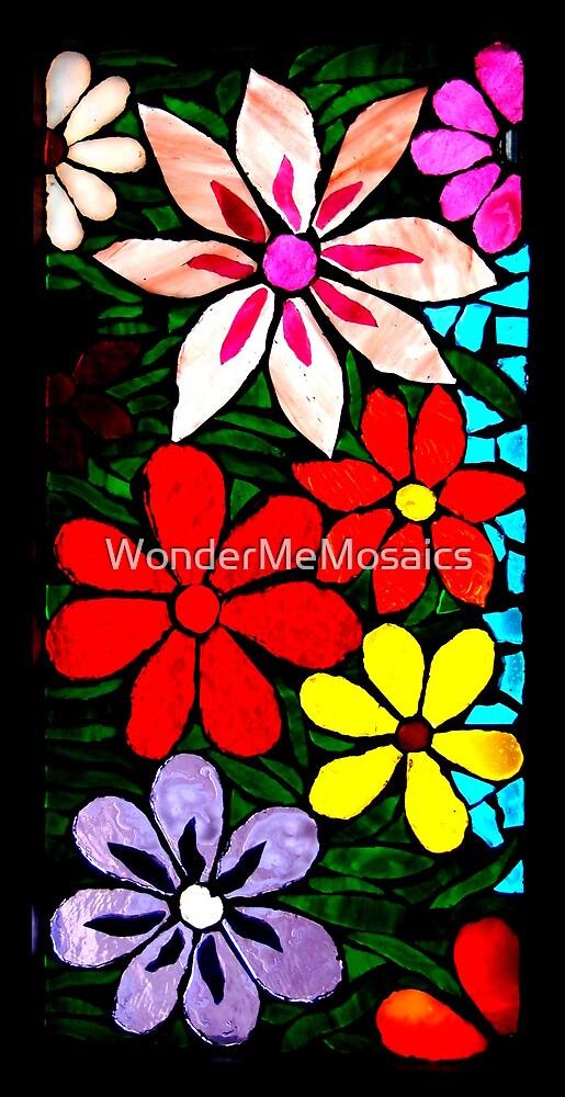 Neon Burst of Garden of Flowers, Mosaic by WonderMeMosaics