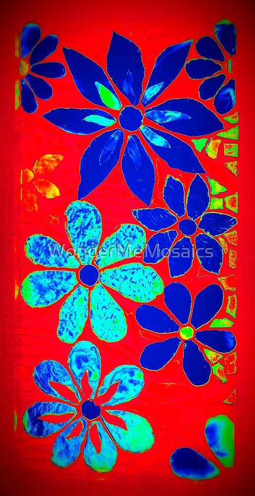 Neon Burst of Red / Blue Garden of Flowers, Mosaic by WonderMeMosaics