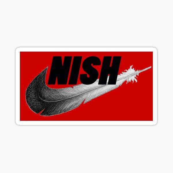 Red Nish Shwoosh Logo Sticker