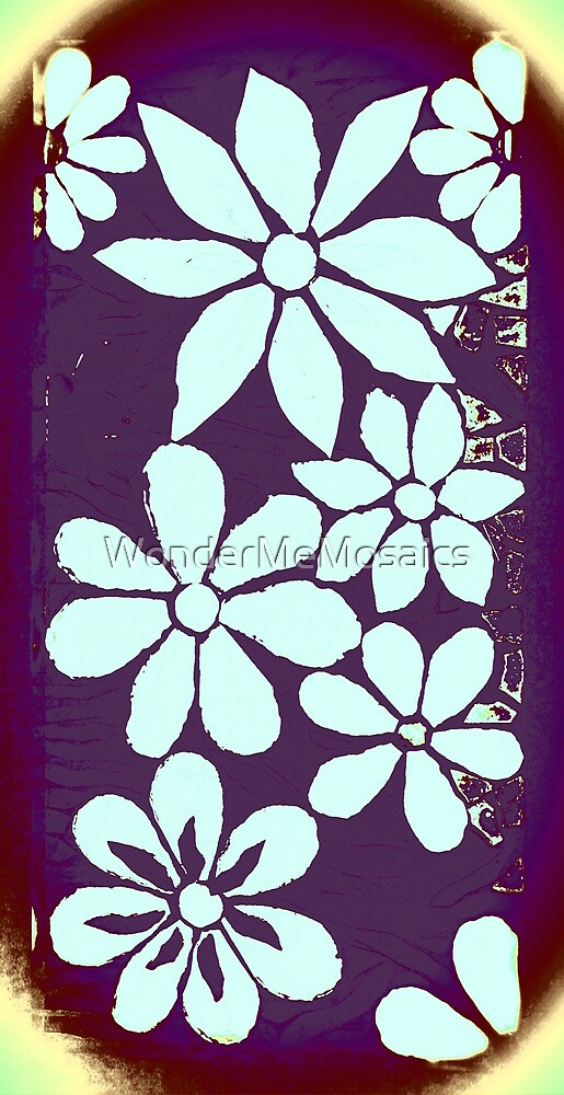 Garden of Batik Purple Flowers, Mosaic by WonderMeMosaics