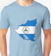 Nicaragua Map With Nicaraguan Flag Unisex T-Shirt