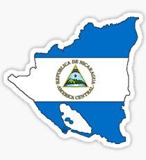 Nicaragua Map With Nicaraguan Flag Sticker